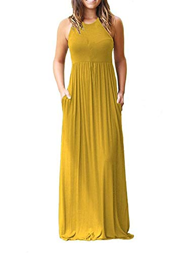 YIOIOIO Women's Sleeveless Sleeve Maxi Dress with Pockets Plain Loose Swing Casual Floor Length Long Dresses, Large, Yellow