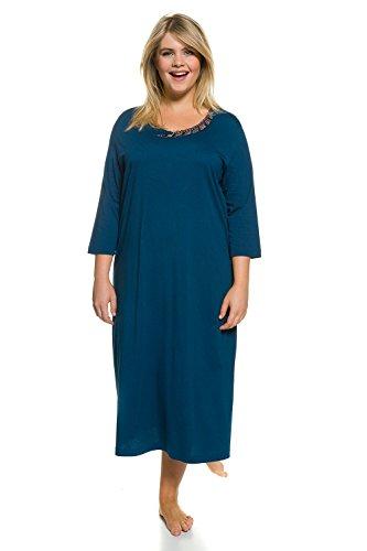 Ulla Popken Damen große Größen Nachthemd majolikablau 46/48 706016 74-46+