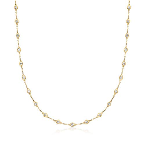 Ross-Simons 2.00-4.00 ct. t.w. Bezel-Set Diamond Station Necklace in 14kt Yellow Gold ()