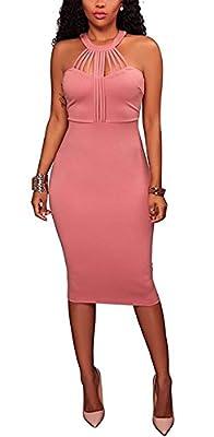 Yeshire Womens Sexy Halter Sleeveless Bodycon Zipper Party Midi Dress Clubwear