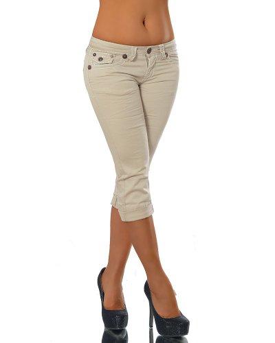 Caprihose Caprijeans Beige Capri Damenjeans K900 Jeans Dicke Hose Bermuda Inconnu Naht Damen FwYCq14