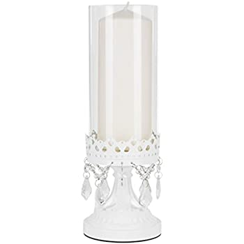 Amalfi Decor Vintage White Metal Candle Holder with Glass Hurricane Vase, Crystal Draped Pillar Stand Accent Display