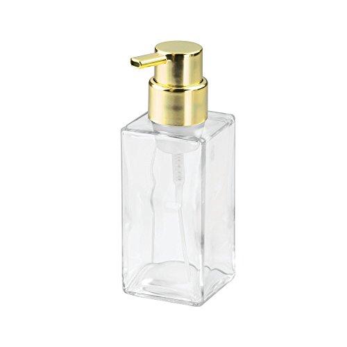 InterDesign Casilla Modern Glass Foaming Soap Pump, Refillable Dispenser Holds 14 oz., for Kitchen, Bathroom, Sink, Vanity, Bedroom, 2.94