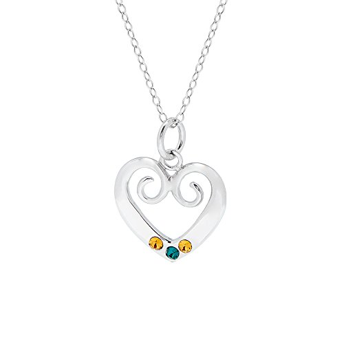 Sterling Silver 3 Stone Custom Simulated Birthstone Heart Pendant (16