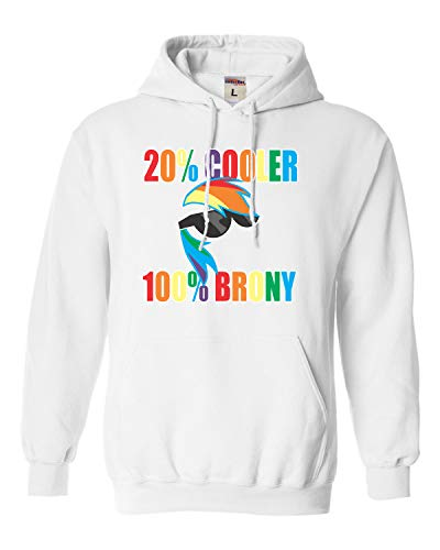 Go All Out Small White Adult 20% Cooler 100% Brony Sweatshirt Hoodie -
