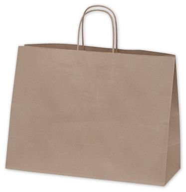 (Solid Color Pattern Shopping Bags - Recycled Kraft Paper Shoppers Vogue, 16 x 6 x 12 1/2