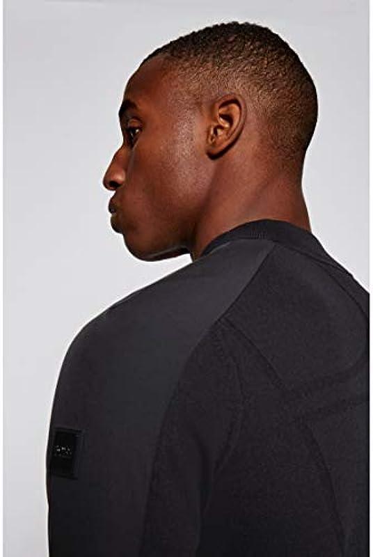 BOSS Męski kardigan Zaytona z zamkiem błyskawicznym i logo z tyłu: Odzież