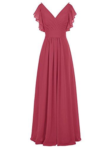 Vestidos De Vestido Gasa Largo Para Boda Ocscuro Rojo Escote En Fiesta Pico Bbonlinedress Mujer dq1wSdt