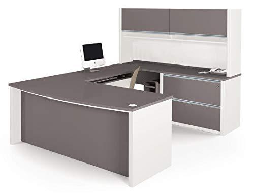 (Bestar Connexion U-Shaped Workstation Kit Including Assembled Oversized Pedestal, Slate/Sandstone)