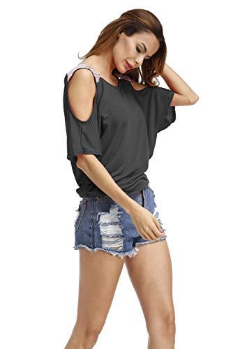 Uni Mode Chemiser Col Blouse Jumpers Chemise Chic Sweatshirt Ete Top Manche Denudee Courte a Bateau Sexy Shirt Casual Pull en Haut Asymetrique Femme T Couleur Lace Tunique Epaule D Shirt de Noir Volant xawxCpZqnz