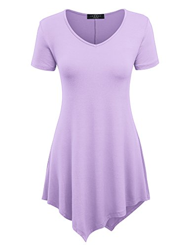 Lock and Love LL Womens Short Sleeve Trapeze Tunic Shirt - Made in USA