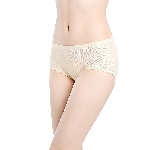 Womens Underwear Seamless 3 Pack, No Show Panties Women Sports Underwear Full Coverage no VPL Brief (Small,Nude)