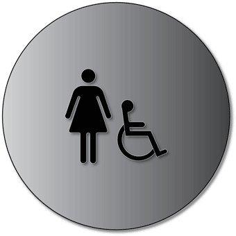 ADA Womens Restroom Door Sign with Wheelchair Symbol - 12x12- Brushed Aluminum