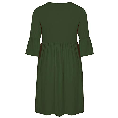 Ancapell-Womens-Plus-Size-Casual-T-Shirt-Midi-Dress-34-Flare-Sleeve-Solid-Knee-Length-Jersey-Dress-for-Women