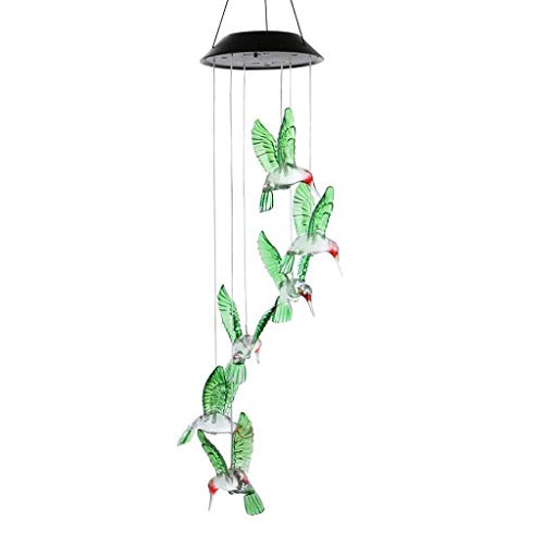 GJK-SION Solar Power Wind Chime Lamp - Waterproof Spiral Spinner Hummingbird Shape LED Color Changing Hanging Light - Outdoor Garden Yard Decorative Lighting ()