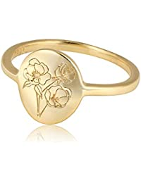 Handmade Flower Signet Ring -18K Gold Over 925 Sterling Silver Ring-Minimalistic Statement Ring with Botanical Engraved- Delicate Jewelry Gift for Women/Girls (Poppy Signet Ring, Size 8)