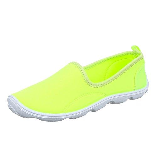 Ital-Design Damen Schuhe, C201, Halbschuhe Slipper Freizeitschuhe Neongelb