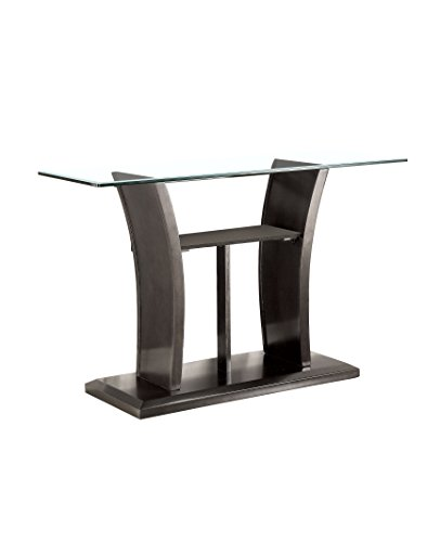 HOMES: Inside + Out IDF-4104GY-S Corrie Glass Sofa Table, Gray