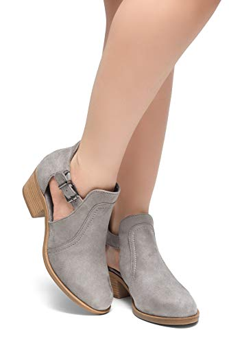 Grey Casual Perforated Herstyle Booties Buckle Toe Comfortable Ankle Women's with Out Closed Block Cut Heel Prisila Stacked Boots Tp4vqpSw
