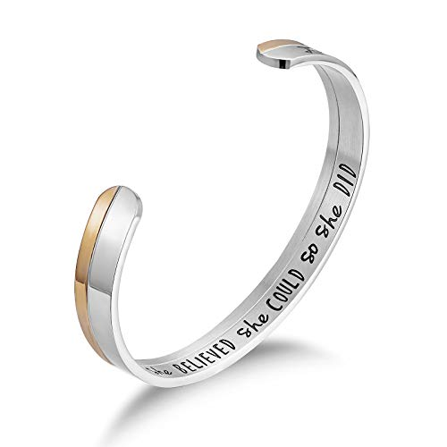 LIUANAN Graduation Gifts Jewelry Bracelet Ring Engraved She Believed She Could So She Did for Her Women Cuff Bangle (Two Tone- She Believed She Could So She Did Bangle)