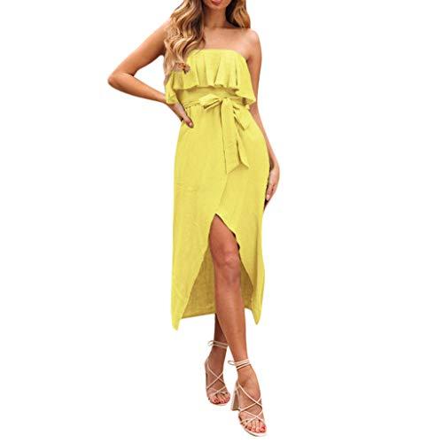 JESPER Women Summer Sexy Ruffled Sleeveless Mid-Calf Length Party Tube Top Dress Sundress Yellow