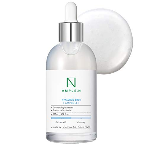 ([AMPLE:N] Hyaluron Shot Ampoule 3.38 fl. oz. (100ml) - Hyaluronic Acid & Xylitol Complex Contained, Powerful Hydrating Skin Care Ampoule for Dry and Rough Skin)