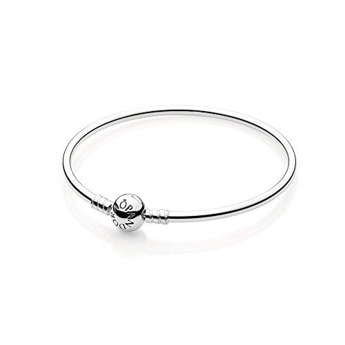 PANDORA Sterling Silver Bangle with Bead Clasp 590713-19, 7.5'' (19cm) by Pandora