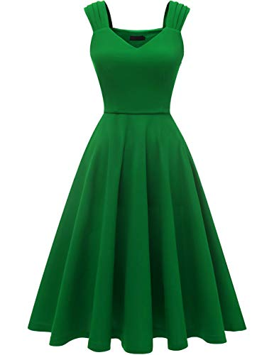 DRESSTELLS Women's Bridesmaid Vintage Tea Dress V-Neck Prom Party Swing Cocktail Dress Green XS