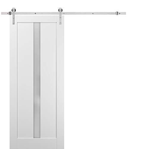 Sliding Barn Door 42 x 96 with Stainless Steel 8ft Hardware   Quadro 4112 White Silk with Frosted Opaque Glass   Top…