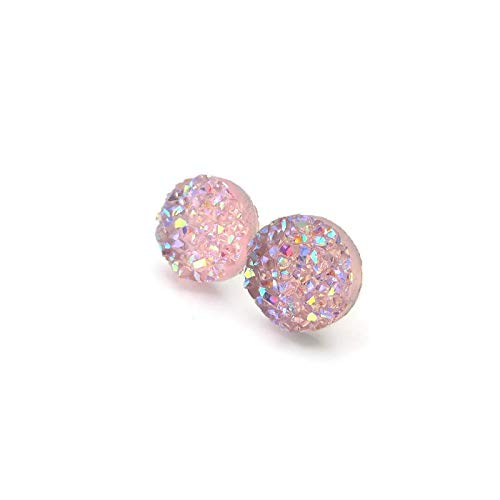 Faux Druzy Stone on Hypoallergenic Plastic Post Earrings, Pale Pink AB, 12mm