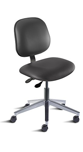 BioFit Engineered Products BEA-L-RC-AV126 Belize Series Desk Height Chair with Aluminum Base and Black Vinyl Upholstery, Black