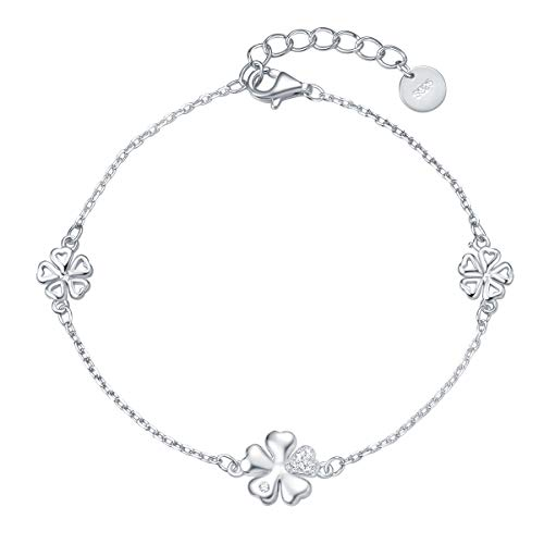 Fancime Sterling Silver Women Bracelets White Gold Plated Cubic Zirconia Four Leave Clover Link Bracelet Jewelry With Box - Sterling Leaf Link Silver