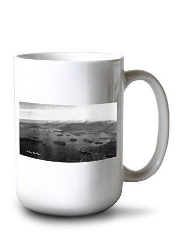 Alaska Aerial Photo - Lantern Press Sitka, Alaska - Aerial View of Town and Inlet Photo (15oz White Ceramic Mug)