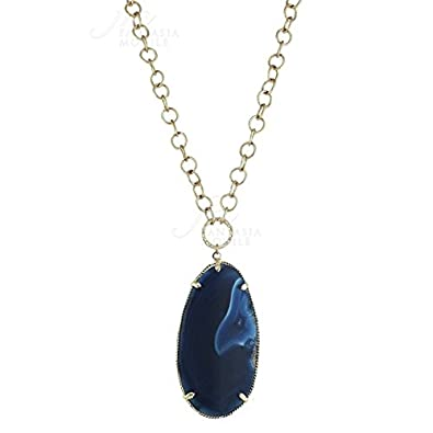 00bb50d82846 Collar Mujer Latón Dorado Colgante Azul Sintético Moody cf1800ba   Amazon.es  Joyería