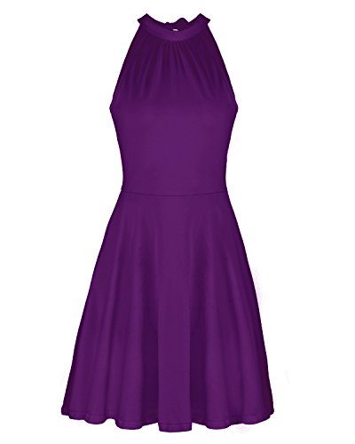 OUGES Women's Stand Collar Off Shoulder Sleeveless Cotton Casual Dress(Purple,S)