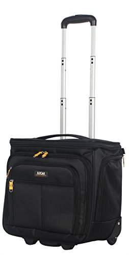"Lucas Luggage 15"" Carry On Expandable Wheeled Under Seat Bag with USB Port (Black)"