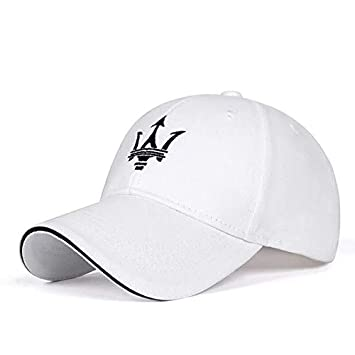 JDclubs Maserati Logo Embroidered Adjustable Baseball Caps for Men and Women Hat Travel Cap Car Racing Motor Hat White