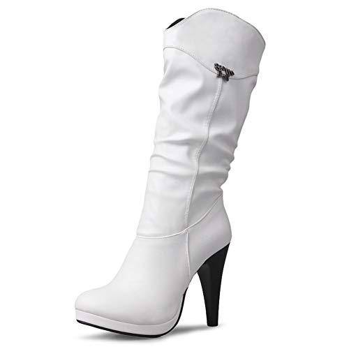 DecoStain Women's Round Toe Spike Stilettos High Heels Autumn Winter Mid-Calf Slouch Boots ()