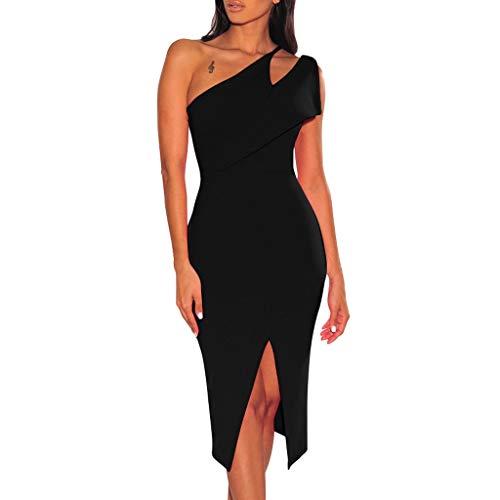 iHPH7 Dresses Casual Sleeveless Bodycon Tight Midi Dress Cocktail Party Pencil Dresses Fashion Sexy Bodycon Slim Hollow Fork Cocktail Party Dress (M,Black) -