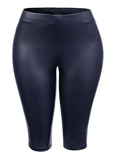Instar Mode Women's PU Tight Skinny Casual Short Pants Black ()