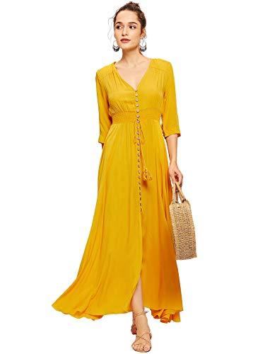 Milumia Women's Button Up Split Floral Print Flowy Party Maxi Dress Medium Yellow-2