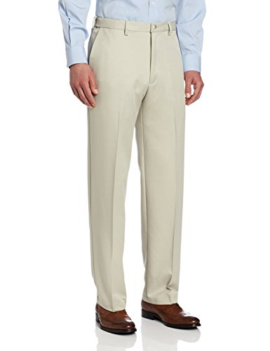 Sportoli Men's Cool Classic Fit Hidden Expandable-Waist Plain-Front Dress Pants - String (Olive Pinstripe Suit)