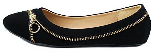 Larisa15 Golden Zipper Decor Fannullone Balletto Scarpe Eleganti Nere Nub