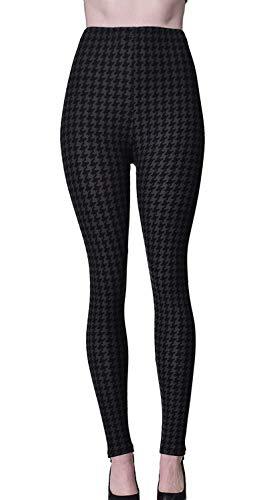 VIV Collection Regular Size Printed Brushed Ultra Soft Christmas Leggings (Black Houndstooth) ()