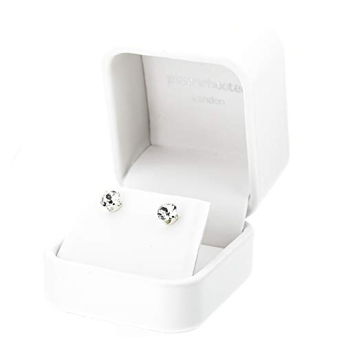 pewterhoter 925 Sterling Silver stud earrings for women made with sparkling Diamond White crystal from Swarovski. Luxury White jewellery box. Hypoallergenic & Nickel Free Jewellery for Sensitive Ears