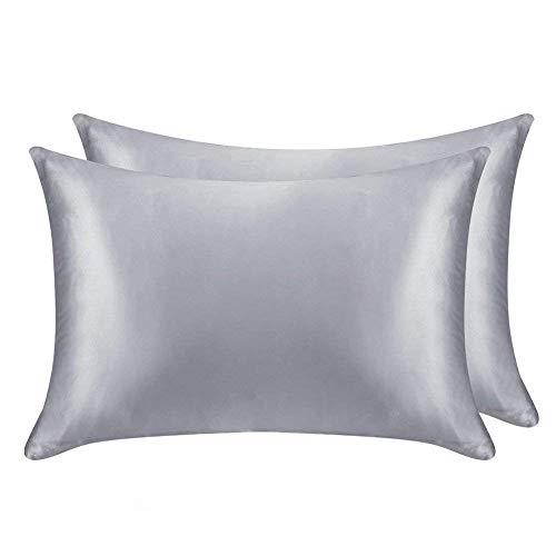 (Juwenin Bedding,Luxury Satin Pillowcase with Zipper (Silky Satin Pillow Case for Hair) Set of 2 (Silver, King(20''x36')))