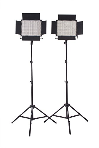StudioPRO (Set of 2) S-600BN Dimmable 600 Bright LED Photography Continuous Bi Color Light Panel & Light Stand Kit with Carrying Case & Barndoor – Photo, Video & Film Production Studio Essentials