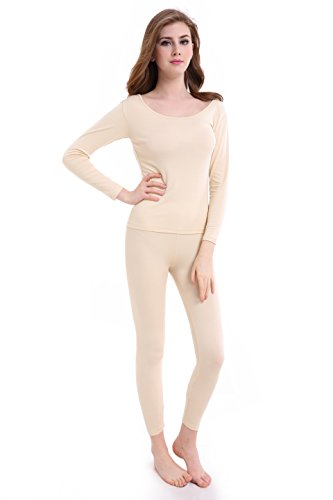 Women Long Johns Crew Neck Thermal Underwear Thin Lightweight Base Layer Set by CnlanRow (Image #4)