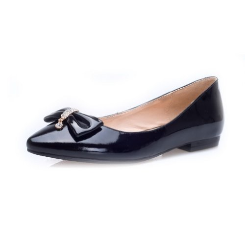 Glass M US Closed 5 5 Black B WeiPoot Womens Patent Pointed Flats Diamond Toe with PU Leather Solid Bowknot vARUwxTq