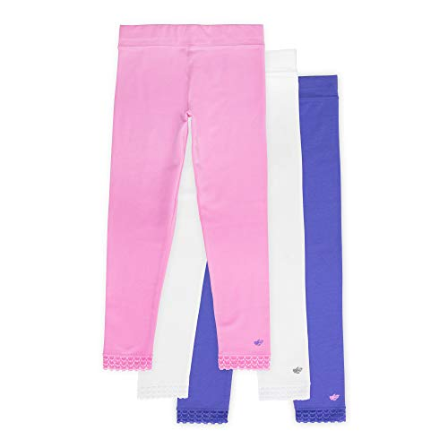 Jada Toddler Leggings for Little Girls, 3 Pack, Tagless, Lace Trim, Full Length, Pink/Gray/White 4/5
